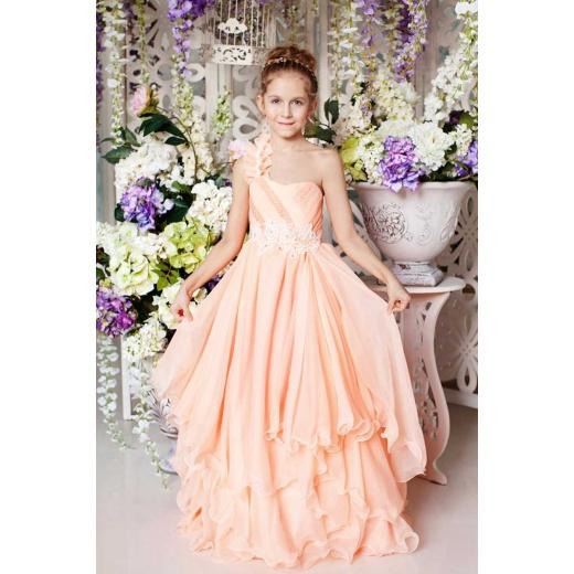 Детское платье в пол персиковое
