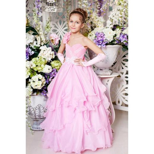 Нарядное платье в пол для девочки розовое
