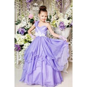 Длинное платье на праздник для девочки сиреневое