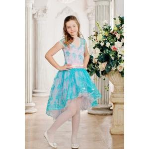 Нарядное платье для девочки бирюза с розовым