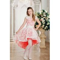 Праздничное платье для девочки молочное с кораллом