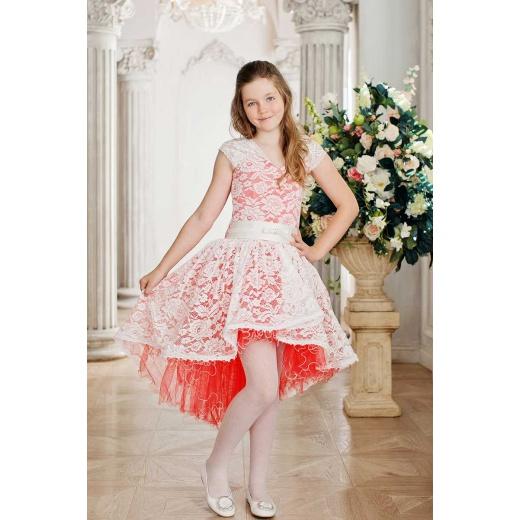 Нарядное коктейльное платье для девочки молочное с кораллом