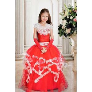 Нарядное красное  платье в пол с кружевом для девочки