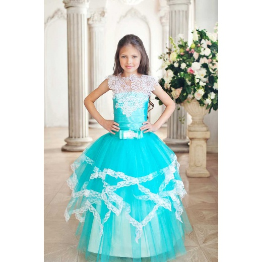Бальное нарядное платье для девочки цвета морской волны