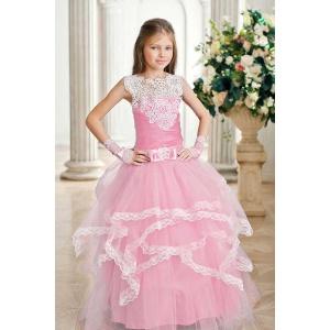 Вечернее платье для девочки с кружевом розовое