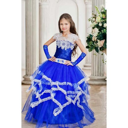 Бальное праздничное платье для девочки синее