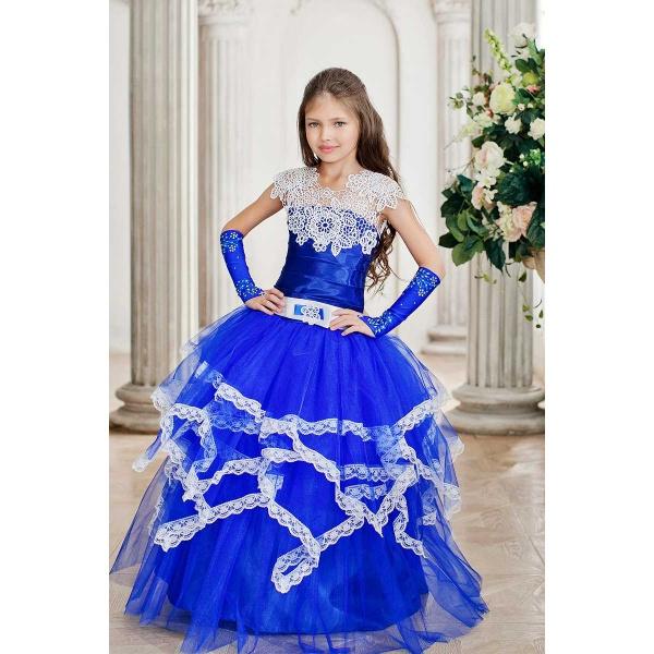 Длинное нарядное платье для девочки синее