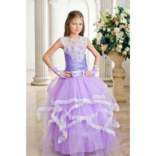 Бальное платье для девочки шикарное сиреневое