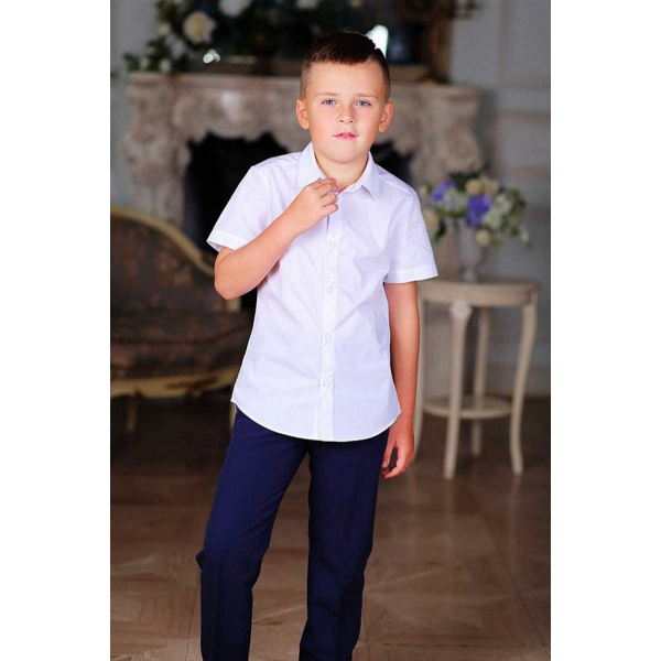 Рубашка для мальчика белая короткий рукав 116