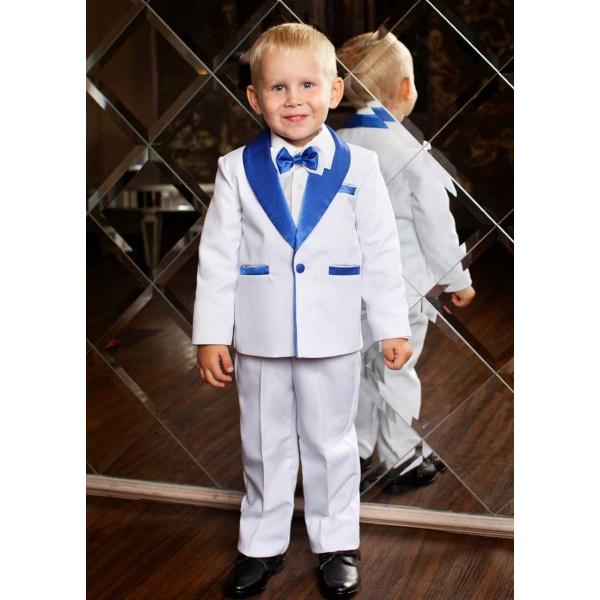 Смокинг костюм для мальчика белый с синим 80