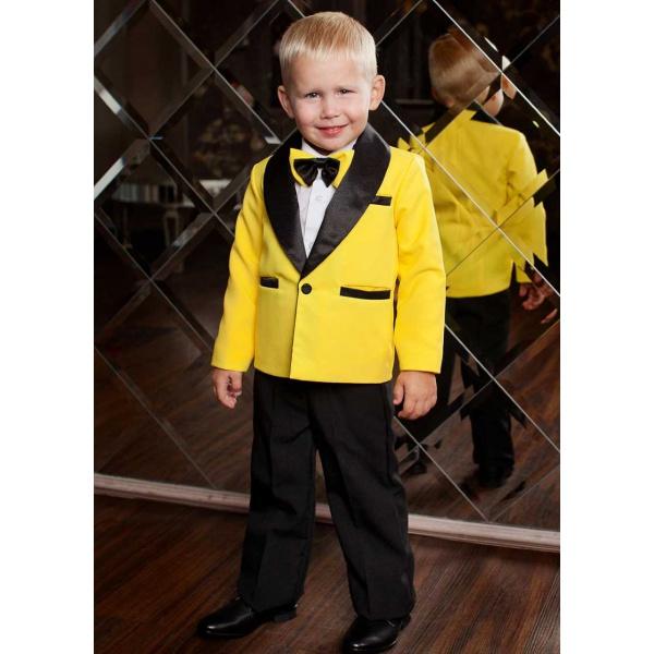 Смокинг костюм для мальчика желтый с черным 80