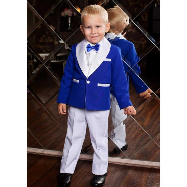Смокинг костюм для мальчика синий с белым 80