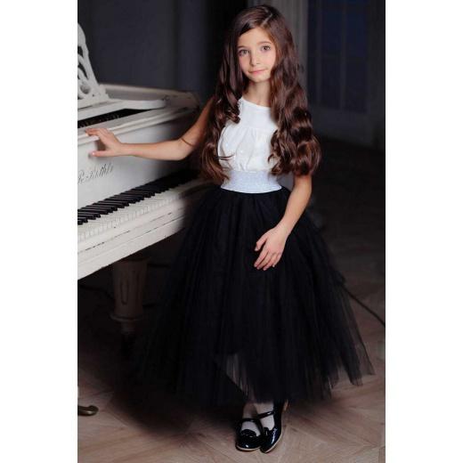 Черная юбка из фатина для девочки