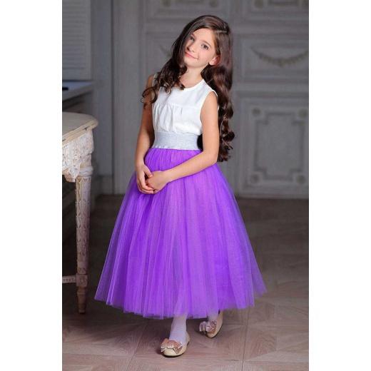 Пышная детская юбка из фатина фиолетовая