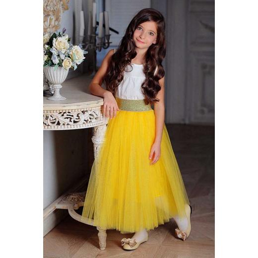 Детская юбка пачка из фатина желтая