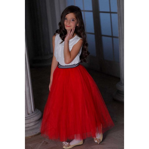 Юбка детская красная из фатина для девочки