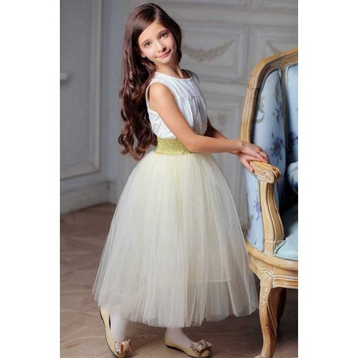 Детская фатиновая юбка молочная