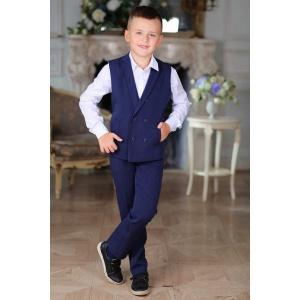 Костюм с жилетом для мальчика двубортный синий 116