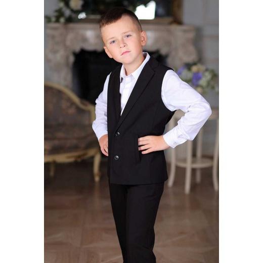 Костюм с жилетом для мальчика однобортный черный