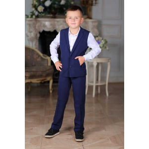 Костюм с жилетом для мальчика однобортный синий 116