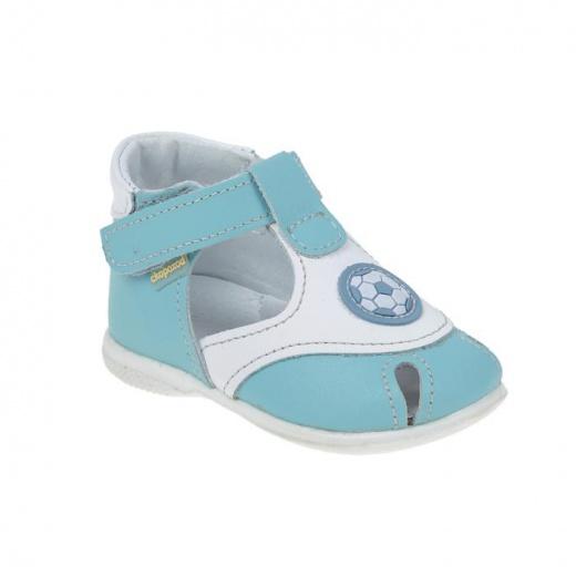 Сандалии детские, цвет голубой/белый, размер 18