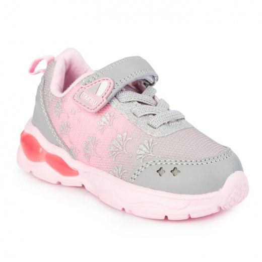 Кроссовки для девочки, арт. 208202, цвет серый/ розовый, размер 22