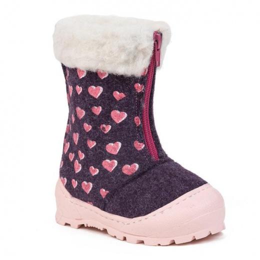 Валенки детские, цвет фиолетовый с розовым принтом, размер 24