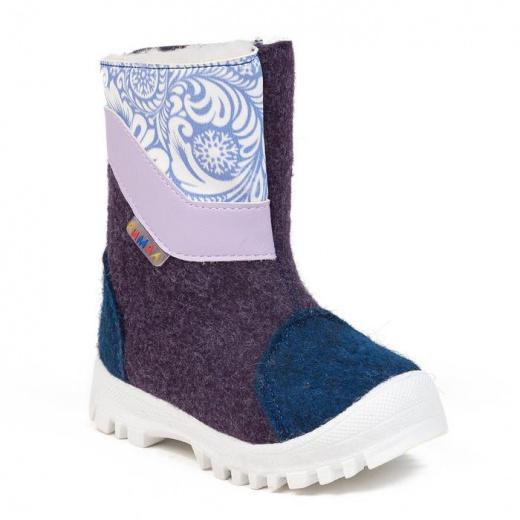 Валенки детские, цвет сине-фиолетовый со вставкой, размер 24