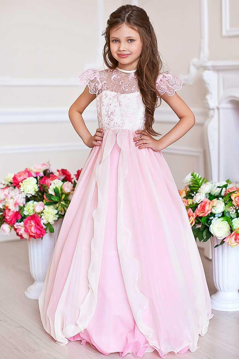 Красивое бальное платье для девочки до пола